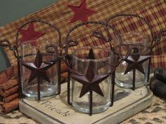 Primitive Country Rustic Star Votive Candle Holders.