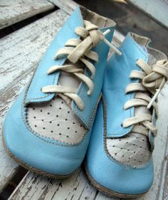 Antique vintage leather baby shoes blue and by LittleBeachDesigns, $21.00