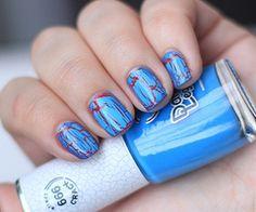 Blue Red Crackle Nails