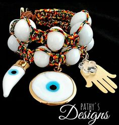 Turkish eye handmade woven double bracelet. por PathysDesign