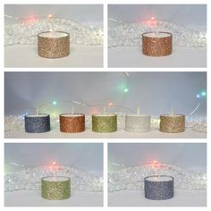 Tall Glitter Tea Lights Glitter Candles 8 Hour Burn Time Christmas Table Candle Set of 5 Large Olympia Tealight Candles Christmas Decoration by LouLaBelleG on Etsy