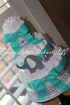 Elephant Diaper Cake Turquoise and Gray by EveryLittleDetailLLC