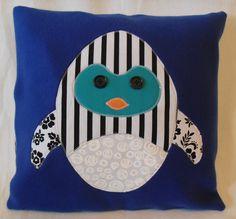Stripey Penguin Pillow