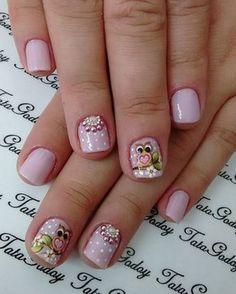 Uñas Nails For Kids, Girls Nails, Trendy Nails, Cute Nails, Owl Nails, Cute Nail Designs, Manicure And Pedicure, Nails Inspiration, Nail Care