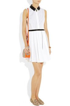 BOY. BY BAND OF OUTSIDERS  Leather-trimmed cotton-poplin dress  with: Pamela Love necklace, Isabel Marant cuff, Eddie Borgo bracelet and bracelet, J.Crew shoes, Theyskens' Theory bag.