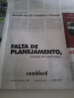 """Jornal O Diário de domingo foi o início da campanha """"Coloque um Ponto Final"""" da Amblard. Acompanhem!!"""