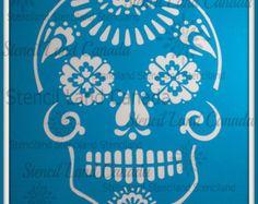 dia de los muertos , Sugar skull, Day Of The Dead cake topper stencil  ! -  cake decorating stencils