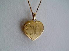 Vintage Engraved  Heart Pendant  by vintageheartstrings on Etsy, $15.00