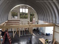 Hut House, Dome House, Steel Building Homes, Building A House, Icf Walls, Quonset Hut Homes, Different House Styles, Loft Flooring, Small Tiny House