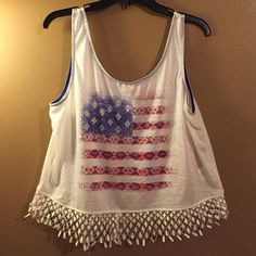 American flag crop top  Brand new (with tags) Crop top. American flag design. Perfect for spring and summer. ❌TRADES ❌NO PP I offer a bundle discount of 15% discount on 2 or more items, this is calculated at check out. I will NOT negotiate in the comments section. Only offers made with the offer button will be considered. Tops Crop Tops