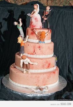 zombie wedding cake lol ~ Can also be changed to a shot gun wedding cake.
