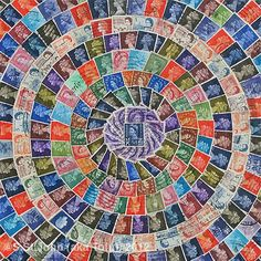 Majestic Mandala, collages with old postage stamps.
