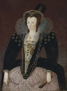 1590s Lady, traditionally identified as Lady Denman in a black velvet dress with an embroidered bodice and lace apron, lace ruff, jewelled headdress, and hat, holding fan by circle of Marcus Gheeraerts the Younger (auctioned by Christie's) | Grand Ladies | gogm