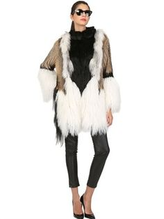 Patchwork Fur Long Coat on shopstyle.com