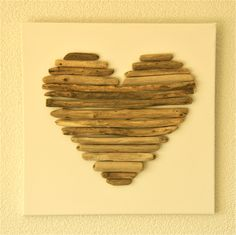 Driftwood Heart on Canvas Driftwood Wall Art, Driftwood Projects, Sea Glass Crafts, Shell Crafts, Wooden Art, Wooden Crafts, Valentine Crafts, Christmas Crafts, Wood Dog