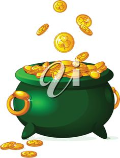 iCLIPART - Clip Art Illustration of a pot full of golden coins. St. Patricks day theme.  SOON I'LL FIND ONE