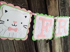 Kitten Cat Party Banner Birthday Party Party by BlueOakCreations