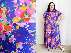 Plus Size - Vintage 1970s Blue Floral Maxi Dress (Size 14/16) by TheCurvyElle on Etsy