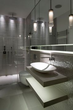 contemporary bathroom design gray bathroom tiles modern lighting bowl sink