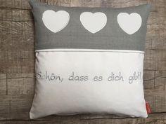 Zirbenkissen aus Leinen, liebevoll bestickt, von Christine Design http://www.christine-design.at