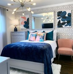 Blue And Pink Bedroom, Pink Room, Blue Teen Bedrooms, Glam Bedroom, Home Bedroom, Bedroom Ideas, Master Bedroom, Girl Apartment Decor, Blue Room Decor