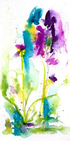Expressive Impressionist Floral Watercolor Painting by Lynne Furrer