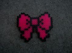 KAWAII Perler Bead Pink School girl Hair Bow by RosieBearsLair, $4.00