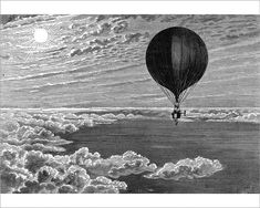Red Balloon, Airship, Steampunk Flying Machine from Victorian Engraving : Print / Frame / Canv Engraving Illustration, Illustration Art, Illustrations, Red Balloon, Balloons, Steampunk Bedroom, Above The Clouds, Gravure, Old Photos