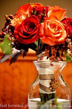 wedding photography bridesmaid bouquet fall flowers orange rose pendant