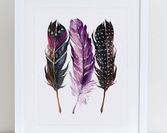 Watercolor Feather, Watercolor Lettering, Watercolor Paintings, Feather Crafts, Feather Art, Moth Wings, Christmas Clipart, Art Things, Watercolor Techniques