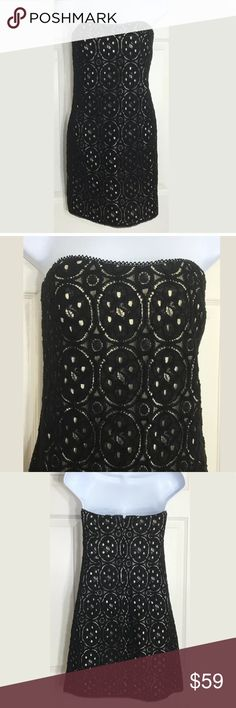 """Rachel Roy Black Crochet Strapless Dress NWOT. Adorable black, crochet strapless dress with pockets and a zipper in the back. Perfect for clubbing! Bust: 35""""; Length from under the arm: 25"""".   Seems smaller than a large. It might be a Juniors. Smoke free home. Thank you for shopping my closet 😊🌺 RACHEL Rachel Roy Dresses Strapless"""
