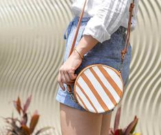 DIY No Sew Furoshiki Purse (with handles!) | ctrl + curate Paint Stripes, Bold Stripes, Diy Purse Makeover, Diy Purse No Sew, Purse Handles, Diy Earrings, Beach Towel, Saddle Bags, Purses