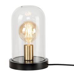 Seattle table lamp / glass and wood – Ø 18 cm x H cm – It's about Romi – black, transparent, M - Modern It's About Romi, Edison Lighting, Dar Lighting, Seattle, Desk Lamp, Table Lamp, Torchiere Lamp, Lamp Switch, Modern Stairs
