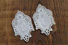 2 rare antique lace monogram C  supply by Yebisu on Etsy