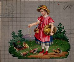 Little girl feeding hens with birdseed embroidery design, 19th century