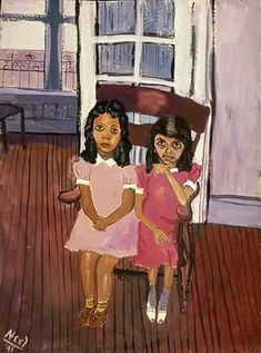 Two Girls in Spanish Harlem by Alice Neel, 1941, Watercolour on Paper, 20 1/2 x 15 1/2 inches / 52 x 39.4 cm, Schomburg Center for Research in Black Culture, Art and Artifacts Division, The New York Public Library