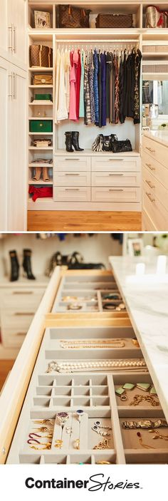 Locking Jewelry Drawers in the center island organize Brooke's favorite pieces. She loves that her new TCS Closet puts all her jewelry and accessories together within easy reach, making it easy to try on different options when she is getting ready. #closetsbydesign