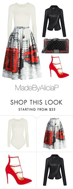 """Untitled #177"" by madebyaliciap ❤ liked on Polyvore featuring Wolford, Chicwish, Christian Louboutin and Chanel"