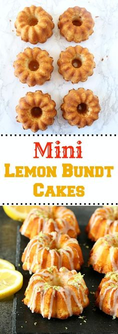 Mini Lemon Bundt Cakes with lemon glaze! Full of flavor, extremely moist, and a delicious recipe. A perfect addition to your potluck or summer party! Mini Desserts, Lemon Desserts, Lemon Recipes, Delicious Desserts, Cake Recipes, Yummy Food, Cupcakes, Cupcake Cakes, Lemon Bundt Cake