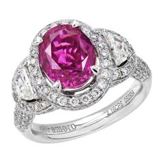 5.76 Carat 18kt White Gold Rare Pink Sapphire and Diamond Ring