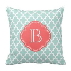 Mint & Coral Modern Moroccan Custom Monogram Throw Pillows