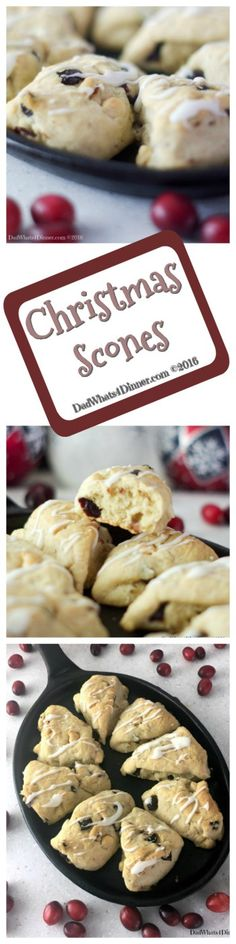 Cranberry White Chocolate Scones are the perfect treat for Christmas morning or anytime of the year. Flaky, sweet and tart all in one bite size scone! #recipe #breakfast #bread #desserts