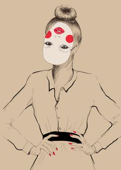 take YOUR mask off by Agnieszka Sukiennik, via Behance My Arts, Behance, Fashion Illustrations, Fashion Drawings