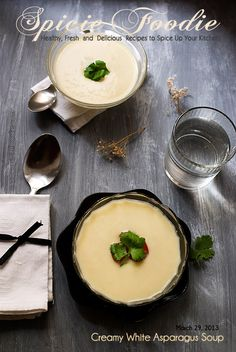 Creamy White Asparagus Soup Recipe by Spicie Foodie | #asparagus #soup #creamcheese