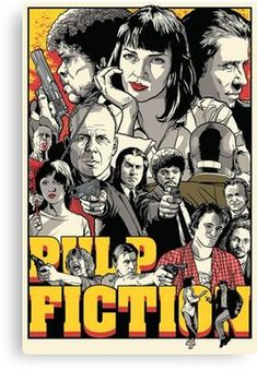 The difference between reality and fiction? Fiction has to make sense. Pulp Fiction by Joshua Budich Best Movie Posters, Cinema Posters, Movie Poster Art, Cool Posters, Film Posters, Fan Poster, Print Poster, Poster Wall, Poster Drawing