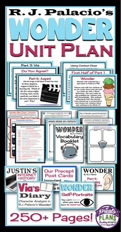 Wonder by R. Palacio Unit Plan: Everything you need to teach the novel… Wonder Novel, Wonder Book, 6th Grade Ela, 6th Grade Reading, Ninth Grade, Seventh Grade, Unit Plan, Book Study, Teaching Reading