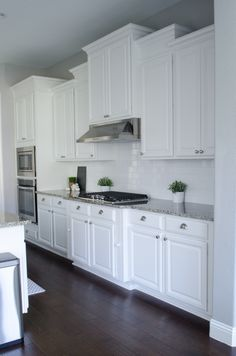 white kitchen cabinets....thinking this is exactly what I want with the white cupboards & white & gray countertop