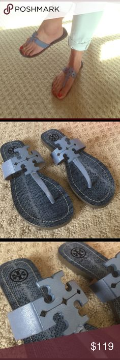TORY BURCH THONG OCEAN MIST MOORE FLAT SANDALS Brand new in box with dust bag. Will mail with box. Tory Burch Shoes Sandals