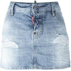 Dsquared2 mini denim skirt (767.985 COP) ❤ liked on Polyvore featuring skirts, mini skirts, bottoms, denim, blue, button front mini skirt, distressed denim skirt, blue mini skirt, denim mini skirt and button front denim skirt