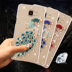 """New Fashion 3D Peacock Rhinestone Clear plastic Case for Samsung Galaxy J7 Prime Cover 5.5"""" for Samsung Galaxy On7 2016 Cases"""